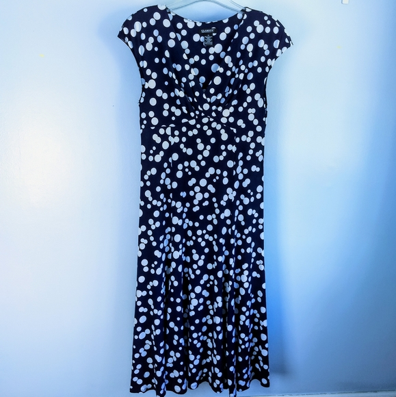 Glamour Fit-And-Flare Blue Polka Dot Dress